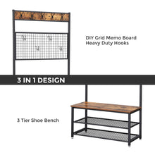 Load image into Gallery viewer, Results vasagle industrial coat stand shoe rack bench with grid memo board 9 hooks and storage shelves hall tree with stable metal frame rustic brown uhsr46bx