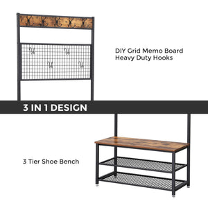 Results vasagle industrial coat stand shoe rack bench with grid memo board 9 hooks and storage shelves hall tree with stable metal frame rustic brown uhsr46bx