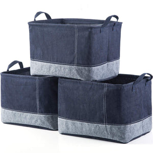 iFlower Storage Bin Basket Decorative Laundry Basket Storage Cube Bin Organizer with Handle for Nursery Playroom Closet Clothes Baby Toy (Jean,3pcs)