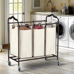 Home bbshoping organizer laundry hamper cart dirty clothes organibbshoping zer for bathroom bedroom utility room powder coated beige