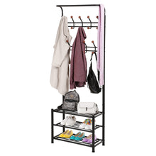 Load image into Gallery viewer, Great songmics entryway coat rack with storage shoe rack hallway organizer 18 hooks and 3 tier shelves metal black urcr67b