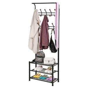 Great songmics entryway coat rack with storage shoe rack hallway organizer 18 hooks and 3 tier shelves metal black urcr67b