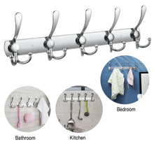 Load image into Gallery viewer, Home wall mounted coat hook rack 2 pack 30 hooks stainless steel coat hangers rack robe hat hooks with sticker