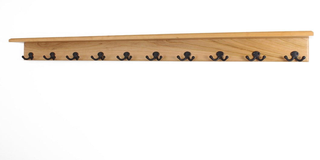 Kitchen pegandrail solid cherry shelf coat rack with aged bronze double style hooks made in the usa natural 53 with 10 hooks