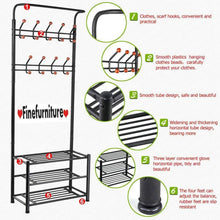Load image into Gallery viewer, Buy finefurniture entryway coat and shoe rack with 18 hooks and 3 tier shelves fashion garment rack bag clothes umbrella and hat rack with hanger bar