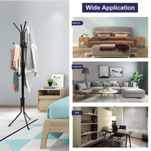 Load image into Gallery viewer, Discover the topvork standing coat rack hanger holder hooks for dress jacket hat and umbrella tree stand with base metal black