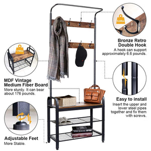 Related zncmrr entryway hall tree with shoe bench rustic coat rack industrial entryway furniture organizer with 8 double hooks and storage shelf for hallway bedroom living room easy assembly