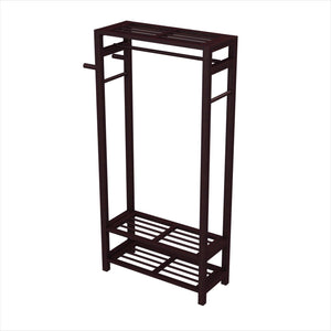 Storage stony edge wood coat shoe garment rack and hat stand for hallway or front door entryway free standing clothing rail hanger easy to assemble espresso