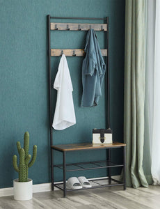 Discover vasagle industrial coat rack hall tree entryway shoe bench storage shelf organizer accent furniture with metal frame uhsr41bx rustic brown