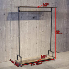 Load image into Gallery viewer, Storage organizer industrial pipe clothing rack on wheels vintage rolling rack for hanging clothes retail display clothing racks with shelves wooden garment rack with wheels heavy duty clothes rack cloths coat rack