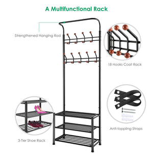 Select nice tomcare coat rack with 3 tier shoe rack hall tree entryway bench organizer 18 hooks coat hanger hat racks heavy duty with shoe storage shelves metal black for doorway hallway