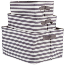 Load image into Gallery viewer, Featured dii cabana stripe collapsible waterproof coated anti mold cotton rectangle basket bin perfect for laundry room bedroom nursery dorm closet and home organization assorted set of 3 gray