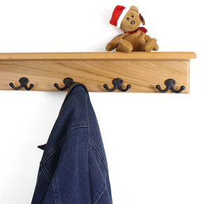 New pegandrail solid cherry shelf coat rack with aged bronze double style hooks made in the usa natural 53 with 10 hooks