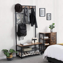 Load image into Gallery viewer, Save on vasagle industrial coat stand shoe rack bench with grid memo board 9 hooks and storage shelves hall tree with stable metal frame rustic brown uhsr46bx