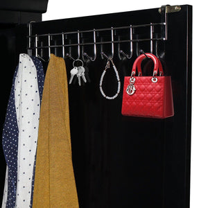 Get 8 double hook over the door hanger by kurtzy stainless steel organizer rack for coat towel bag hat or robe polished silver chrome finish no mounting or fixings required