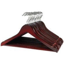 Load image into Gallery viewer, Cheap florida brands premium wooden mahogany suit hangers 96 pack of coat hangers and black dress suit ultra smooth hanger strong and durable suit hangers