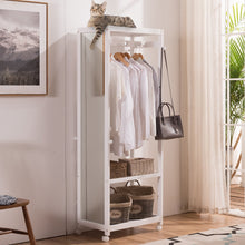 Load image into Gallery viewer, Latest free standing armoire wardrobe closet with full length mirror 67 tall wooden closet storage wardrobe with brake wheels hanger rod coat hooks entryway storage shelves organizer ivory white