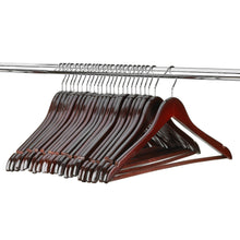 Load image into Gallery viewer, Best seller  florida brands premium wooden mahogany suit hangers 96 pack of coat hangers and black dress suit ultra smooth hanger strong and durable suit hangers