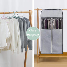 Load image into Gallery viewer, Buy sleeping lamb garment bag organizer storage with clear pvc windows garment rack cover well sealed hanging closet cover for suits coats jackets grey
