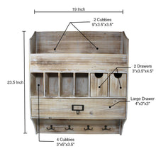 Load image into Gallery viewer, Kitchen extra large vintage rustic country torched wood wall mountable entryway organizer accessory sorter with mail slots coat rack keychain hanger for hallway or mud room barnwood white washed