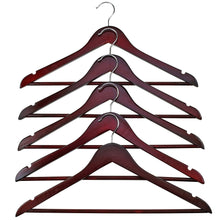 Load image into Gallery viewer, Buy now florida brands premium wooden mahogany suit hangers 96 pack of coat hangers and black dress suit ultra smooth hanger strong and durable suit hangers