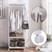 Load image into Gallery viewer, Home free standing armoire wardrobe closet with full length mirror 67 tall wooden closet storage wardrobe with brake wheels hanger rod coat hooks entryway storage shelves organizer ivory white