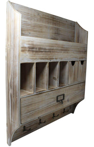Latest extra large vintage rustic country torched wood wall mountable entryway organizer accessory sorter with mail slots coat rack keychain hanger for hallway or mud room barnwood white washed