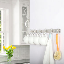Load image into Gallery viewer, Budget friendly webi wall mounted coat rack hooks 30 inch 10 hooks coat hat hook rail heavy duty stainless steel 304 decorative robe hooks for bathroom kitchen entryway closet foyer hallway brushed nickel 2 packs