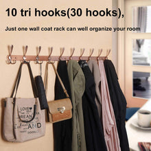 Load image into Gallery viewer, Save webi coat rack wall mounted 16 hole to hole center10 tri hook for hanging coats metal coat hook rack rail wall coat rack with hooks coat hanger wall mount for entryway jacket antique copper 2 pcs
