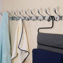 Load image into Gallery viewer, Storage organizer dseap wall mounted coat rack hook 10 hooks 37 5 8 long 16 hole to hole heavy duty stainless steel for coat hat towel robes mudroom bathroom entryway seashell chromed 2 packs