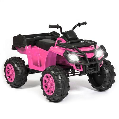 12V Kids Powered ATV Quad 4-Wheel Ride-On Car w/ 2 Speeds, Spring Suspension, MP3, Storage - Pink