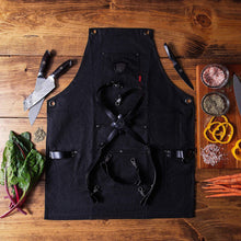 Load image into Gallery viewer, Kitchen dalstrong professional chefs kitchen apron sous team 6 heavy duty waxed canvas 5 storage pockets towel tong loop liquid repellent coating genuine leather accents adjustable straps