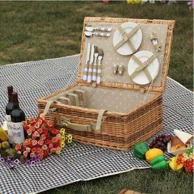 Antique Large Wicker Picnic Basket with Table Mat for 4 People Home Storage Baskets Vintage wicker
