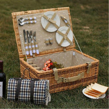 Load image into Gallery viewer, Antique Large Wicker Picnic Basket with Table Mat for 4 People Home Storage Baskets Vintage wicker