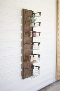 Recycled Wood Metal Wall Rack with Six Wire Storage Baskets