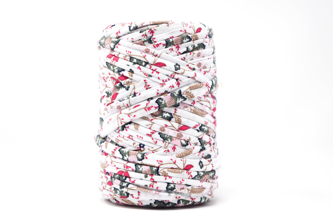 FABRIC YARN - SAMANTHA (WHITE WITH GREEN AND PINK PRINT)