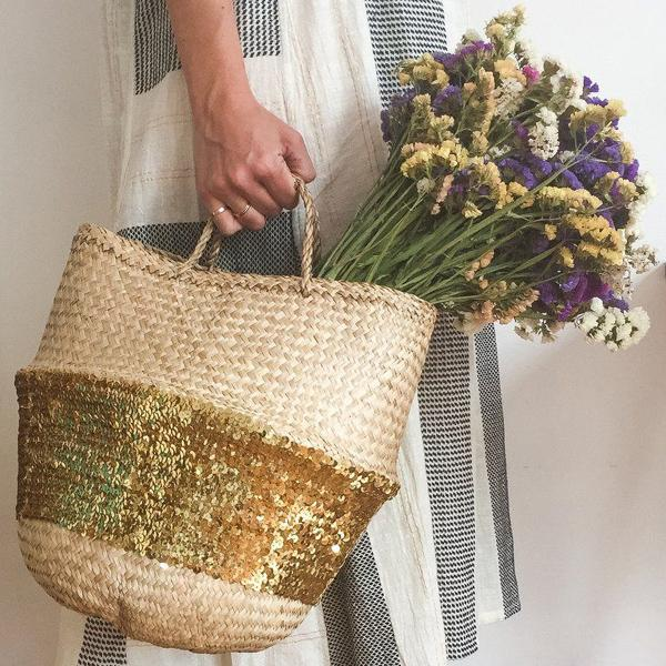 Gold Sequin Dipped Seagrass Basket – Natural