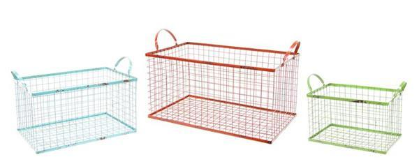 Rectangular Wire Mesh Storage Baskets For Bathroom, Office, Kitchen Or Pantry