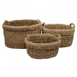 "Oval ""Marisol"" Seagrass Storage Baskets - Laundry, Bathroom & Kitchen Supplies"