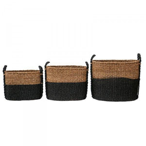 "Black & Natural ""Milagros"" Seagrass Storage Baskets - Laundry, Bathroom & Kitchen Supplies"