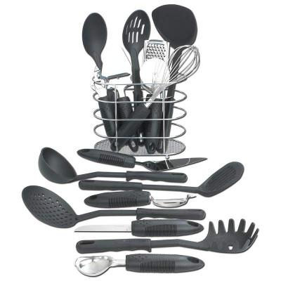 Maxam KTOOL172 Kitchen Utensil 17 Piece Set with Wire Storage Basket