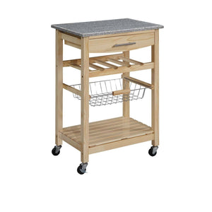Granite Top Kitchen Island Cart in Natural Wood Finish