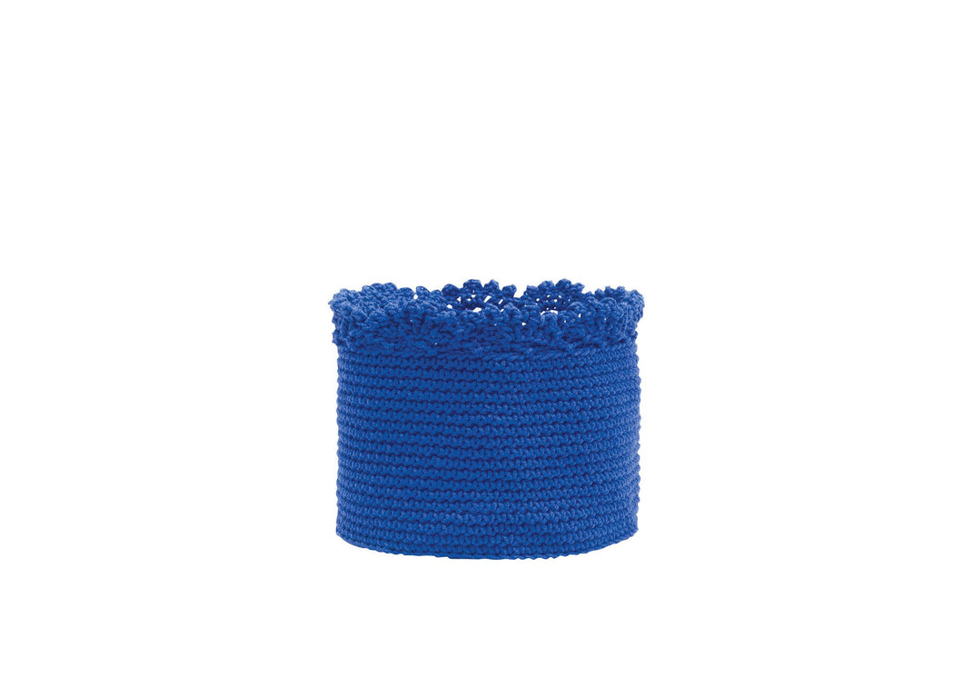 Mode Crochet 5X4 Basket W/Crochet Trim, Cobalt Blue