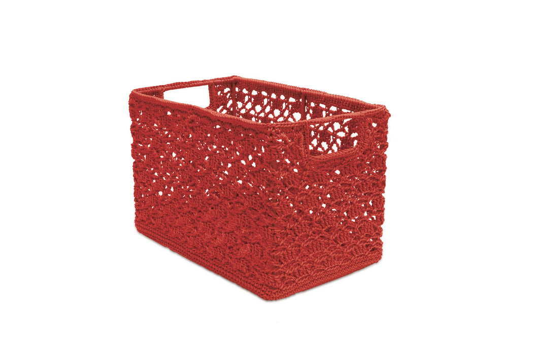 Mode Crochet 12X7X8 Wire Basket, Ruby Red