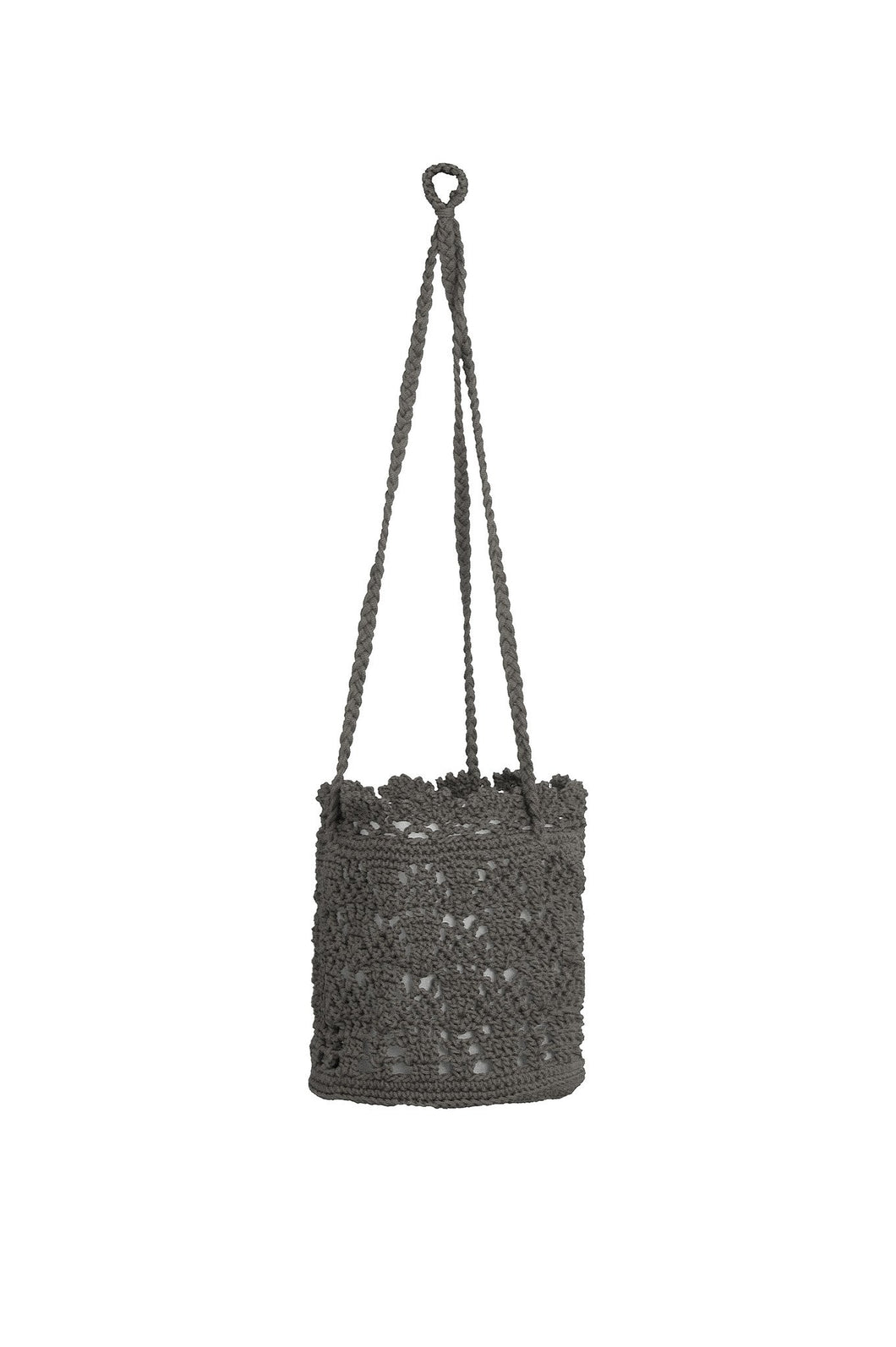 Mode Crochet 8X8X8 Hangng Basket, Charcoal