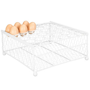 2-Tier Country Rustic White Chicken Wire Egg Display Tray and Storage Basket - Holds up to 36 Eggs