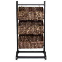 Load image into Gallery viewer, 3-Tier Water Hyacinth Storage Basket Tower - Brown