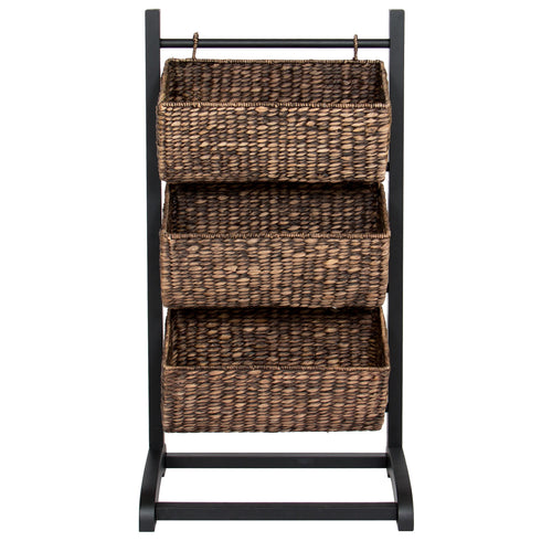 3-Tier Water Hyacinth Storage Basket Tower - Brown
