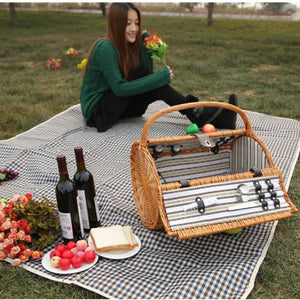Vintage Wicker Picnic Basket Set for 2 Persons Outdoor Willow Picnic Basket for Romantic Valentine