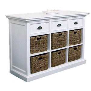 Halifax White Painted Sideboard with Drawers and Rattan Baskets